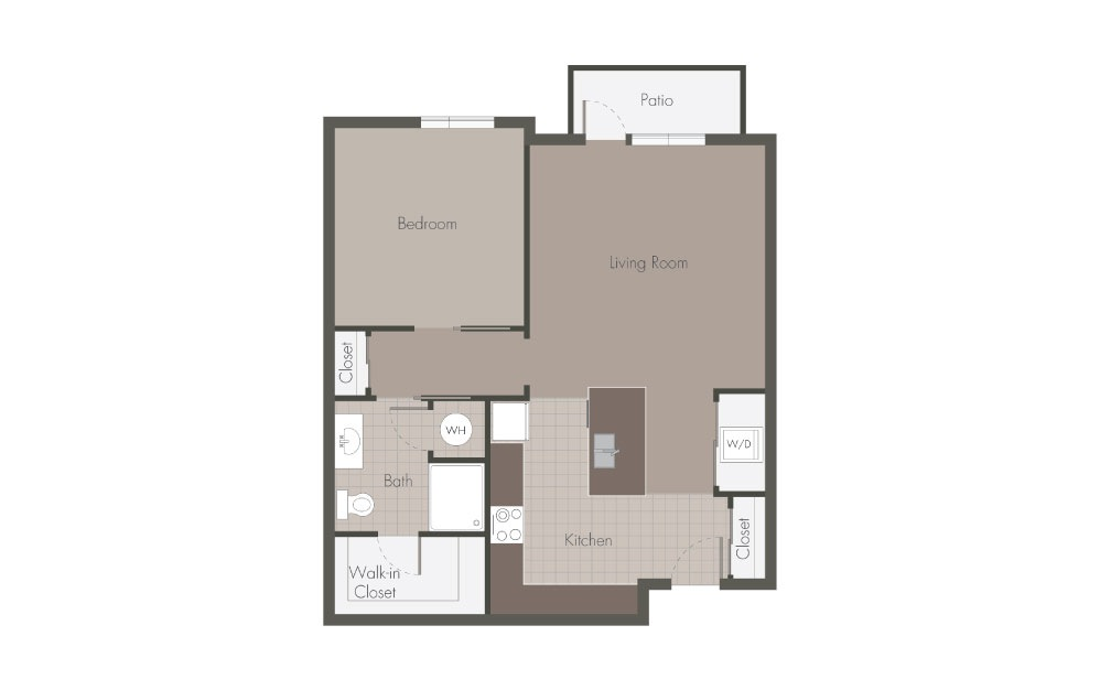 A1 - 1 bedroom floorplan layout with 1 bath and 711 square feet.