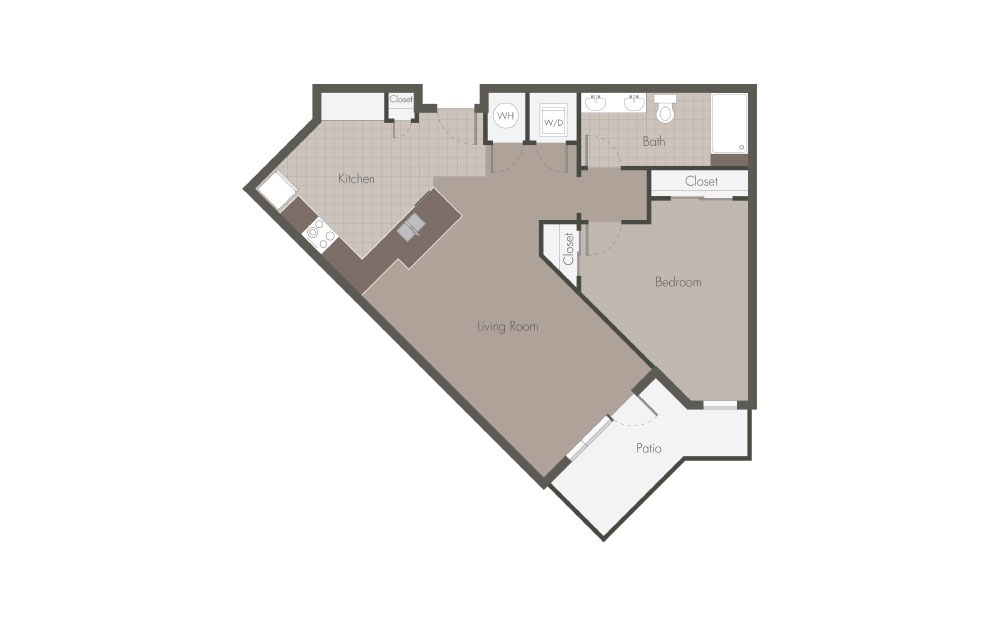 A2 - 1 bedroom floorplan layout with 1 bath and 768 square feet.