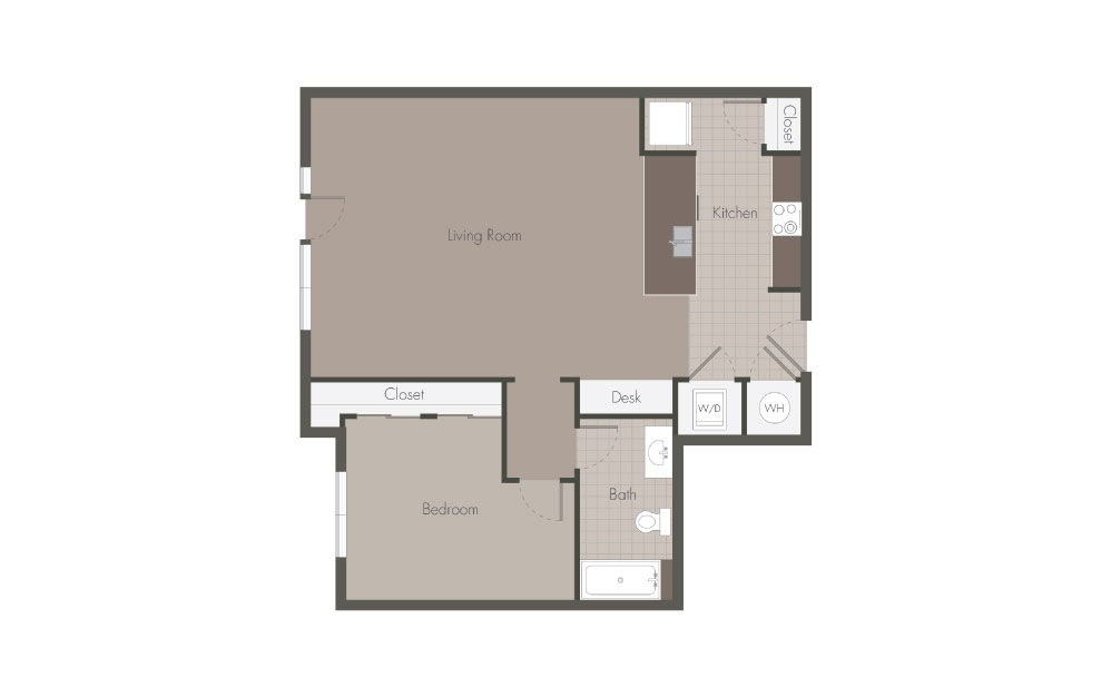 A3 - 1 bedroom floorplan layout with 1 bath and 819 square feet.