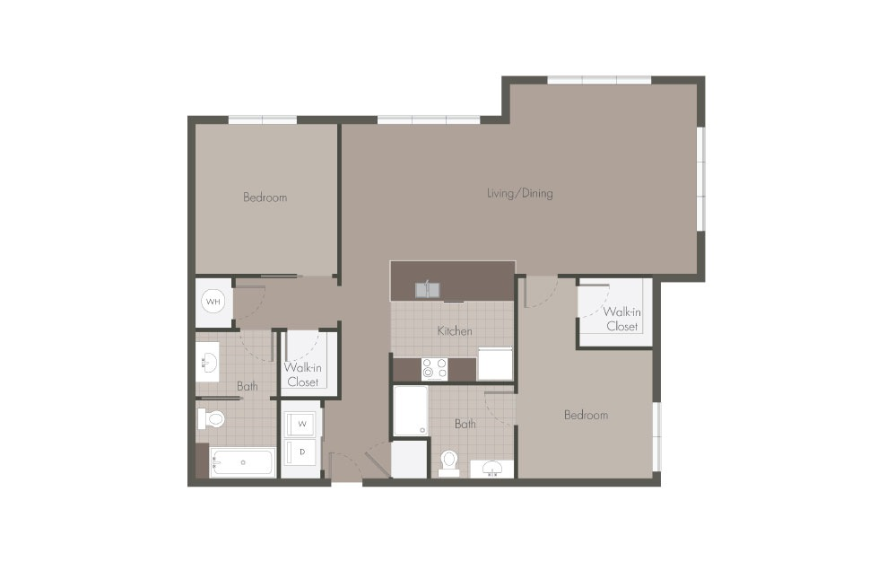 B5 - 2 bedroom floorplan layout with 2 baths and 1081 square feet.
