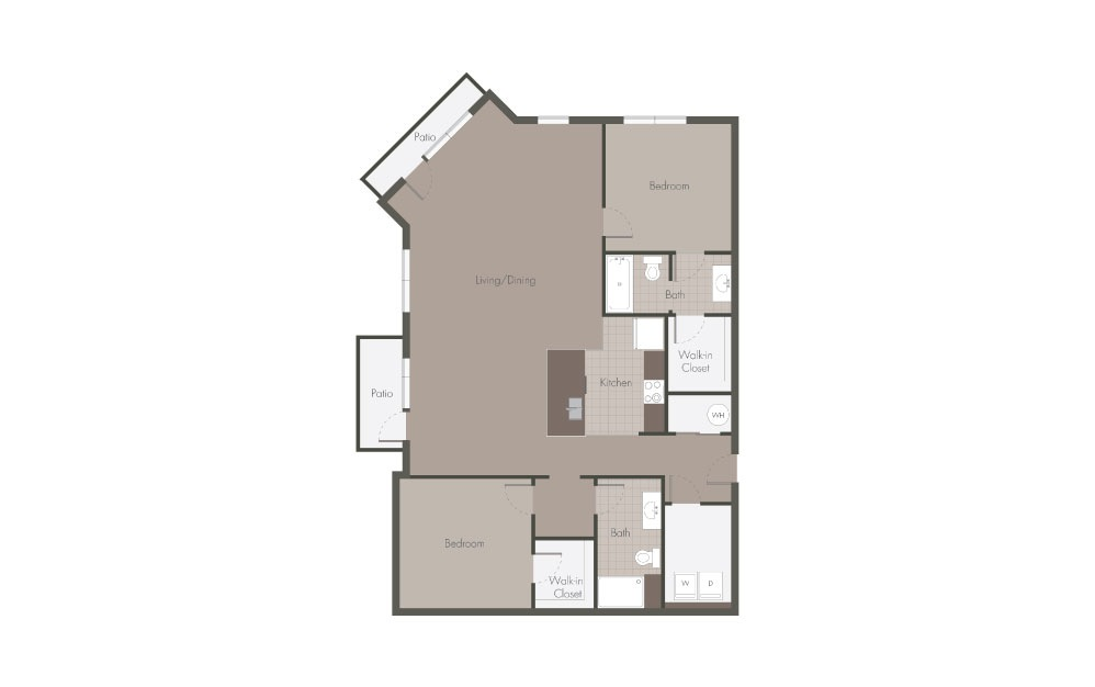 B6 - 2 bedroom floorplan layout with 2 baths and 1182 square feet.