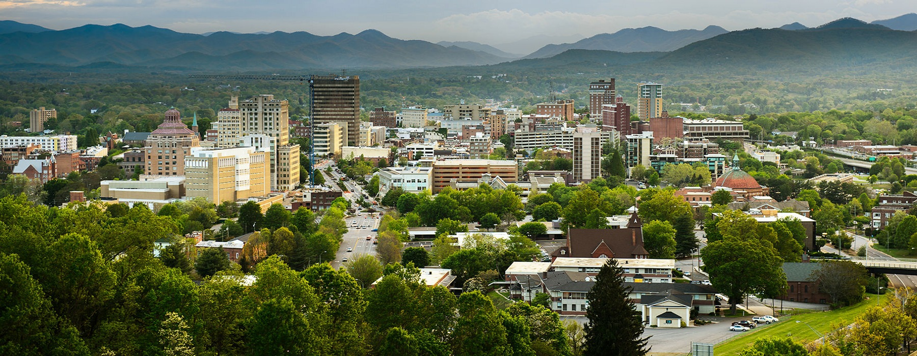 Beautiful nearby Asheville with mountains in the background